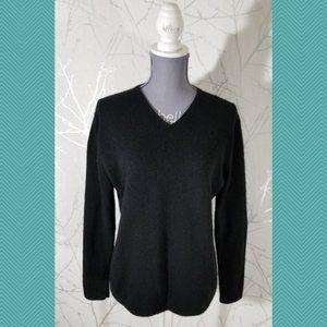 Valerie Stevens Black Cashmere V-Neck Sweater